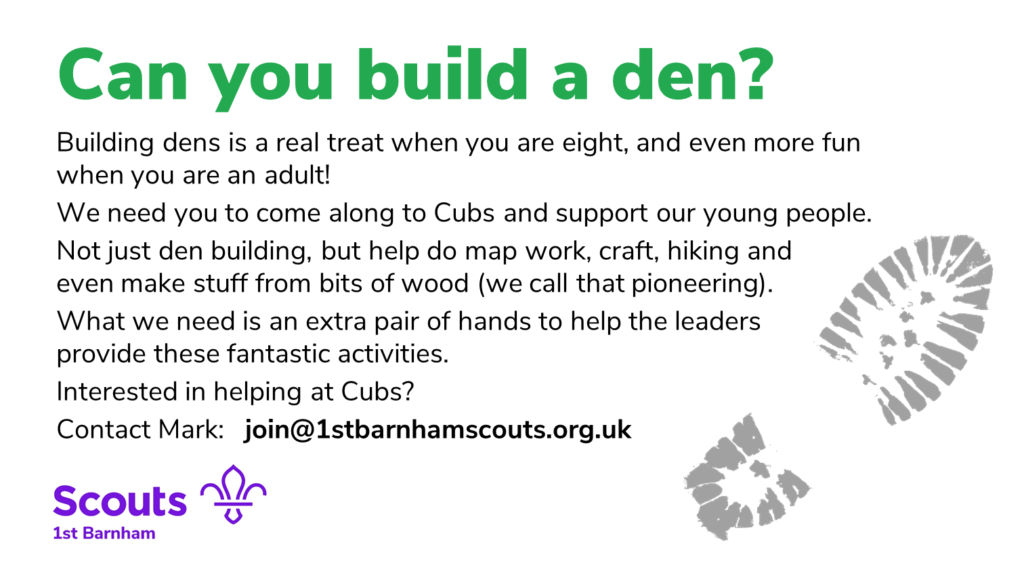 Can you build a den? Volunteer advert