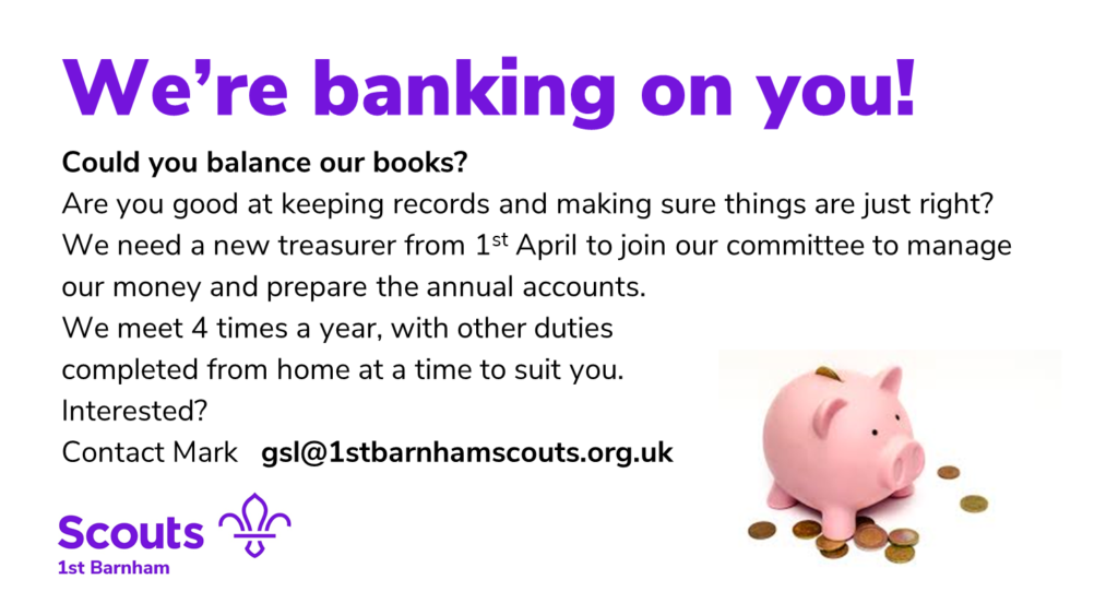 We're banking on you. Volunteer treasurer advert